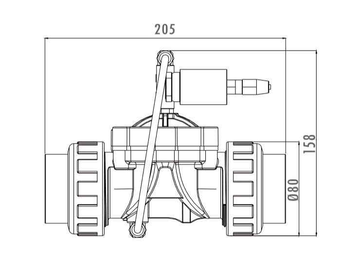 """Hydrauliczny zawór bezpieczeństwa do zaworów automatycznych Tebas 1 1/2"""" i 2"""" - wymiary"""